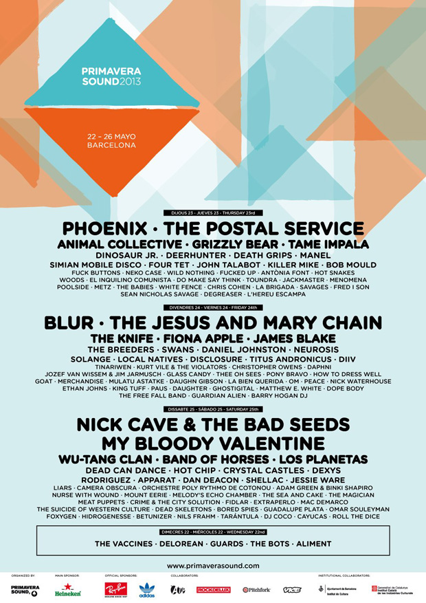 Programmation Primavera Sound 2013