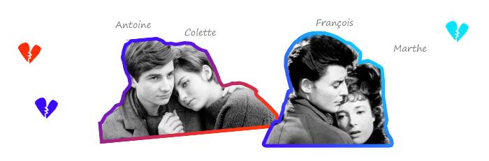Antoine et Colette (Truffaut) - François et Marthe (Raymond Radiguet)