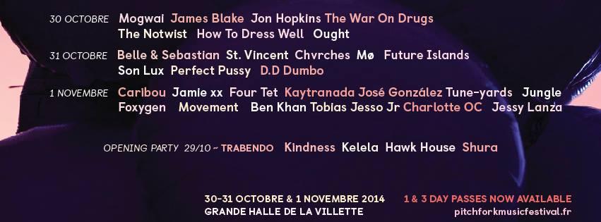 Pitchfork Music Festival Paris 2014 : programmation